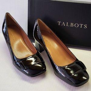 Talbots Black Patent Block Heel